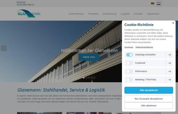 Vorschau von www.glanemann-stahlhandel.de, Stahl- und Röhrengroßhandlung