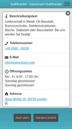 Vorschau der mobilen Webseite www.glanemann-stahlhandel.de, Stahl- und Röhrengroßhandlung