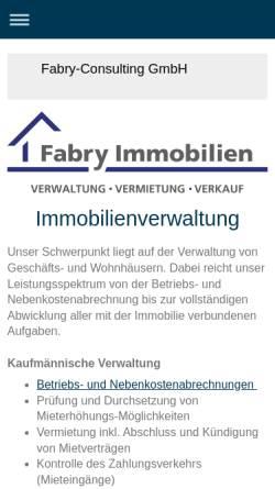 Vorschau der mobilen Webseite fabry-immobilien.de, Fabry-Consulting GmbH