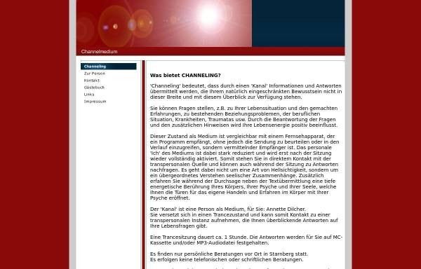 Vorschau von www.channelmedium.de, Annette Dilcher