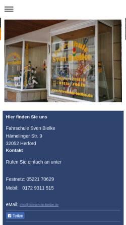 Vorschau der mobilen Webseite www.fahrschule-bielke.de, Fahrschule Bielke
