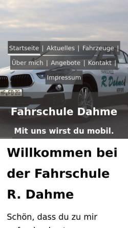 Vorschau der mobilen Webseite www.fahrschule-herford.com, Fahrschule Dahme