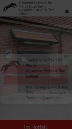 Vorschau der mobilen Webseite www.pferde-quernheim.de, Tierärztliche Praxis für Pferde, Alexander Pacolt & Tom Labann
