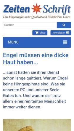 Vorschau der mobilen Webseite www.zeitenschrift.com, Engel mit dicker Haut