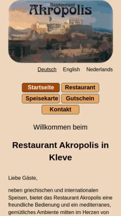 Vorschau der mobilen Webseite www.akropolis-kleve.de, Restaurant Akropolis