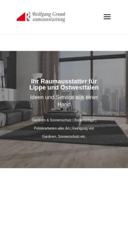 Vorschau der mobilen Webseite www.grund-wohnen.de, Raumausstattung Wolfgang Grund