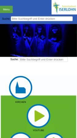 Vorschau der mobilen Webseite www.pviserlohn.de, Pastoralverbund Iserlohn