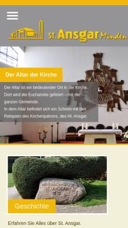 Vorschau der mobilen Webseite www.st-ansgar.de, Kath. Pfarrei St. Ansgar