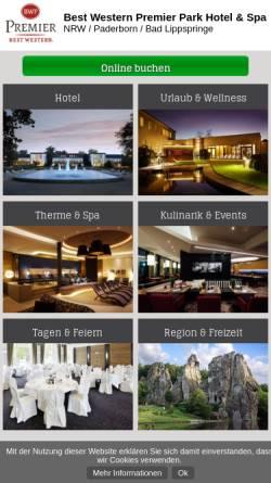 Vorschau der mobilen Webseite www.parkhotel-lippspringe.de, Best Western Premier Park Hotel