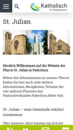 Vorschau der mobilen Webseite www.julian-paderborn.de, Kath. Pfarrei St. Julian Paderborn