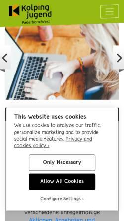 Vorschau der mobilen Webseite www.kj-pb-west.de, Kolpingjugend Paderborn-West