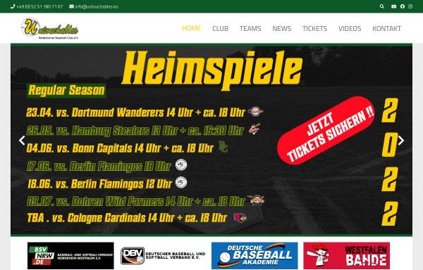 Vorschau von www.untouchables.eu, Untouchables - Paderborner Baseball Club e.V.