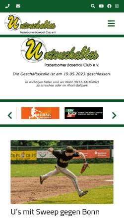 Vorschau der mobilen Webseite www.untouchables.eu, Untouchables - Paderborner Baseball Club e.V.