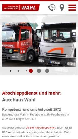Vorschau der mobilen Webseite www.abschleppdienst-wahl.de, Autohaus Wahl GmbH