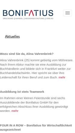 Vorschau der mobilen Webseite www.bonifatius.de, Bonifatius GmbH