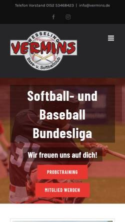 Vorschau der mobilen Webseite www.vermins.de, Vermins Base- und Softballclub Wesseling e.V.