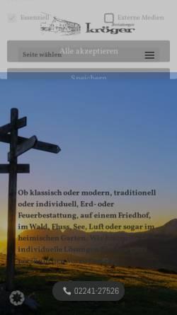 Vorschau der mobilen Webseite www.bestattungen-kroeger.de, Bestattungen Kröger