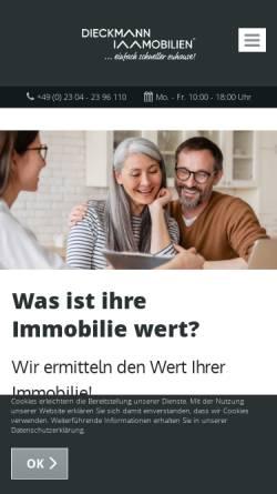 Vorschau der mobilen Webseite dieckmann-immobilien.de, Dieckmann Immobilien GmbH