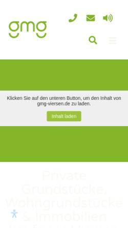 Vorschau der mobilen Webseite www.gmg-viersen.de, Grundstücks-Marketing-Gesellschaft der Stadt Viersen mbH