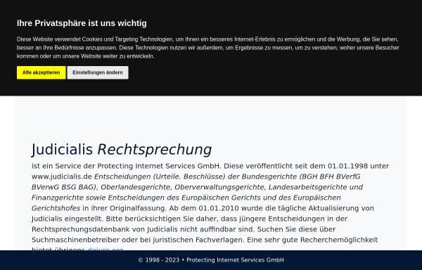 Vorschau von judicialis.de, Aktuelle Rechtsprechung aller Bundes- und Oberlandesgerichte