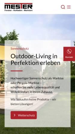 Vorschau der mobilen Webseite mester.de, Mester Fenster-Rollladen-Markisen