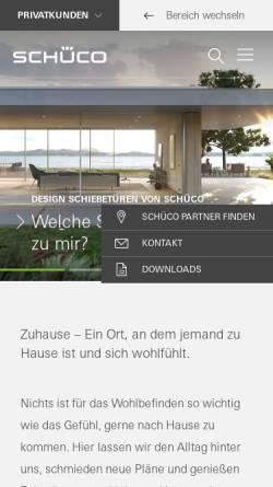 Vorschau der mobilen Webseite www.schueco.com, Schüco International