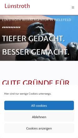 Vorschau der mobilen Webseite luenstroth-werbeagentur.de, Lünstroth GmbH
