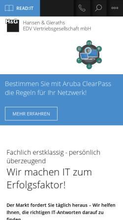 Vorschau der mobilen Webseite www.hug.de, H&G Hansen & Gieraths EDV Vertriebsgesellschaft mbH