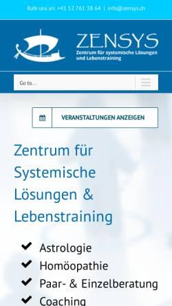 Vorschau der mobilen Webseite www.zensys.ch, ZENSYS Zentrum für Systemische Lösungen - Familienaufstellungen