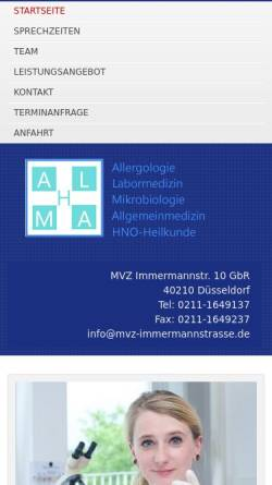 Vorschau der mobilen Webseite mvz-immermannstrasse.de, MVZ Immermannstr. 10 GbR