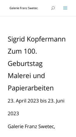 Vorschau der mobilen Webseite www.galerie-swetec.de, Galerie Franz Swetec