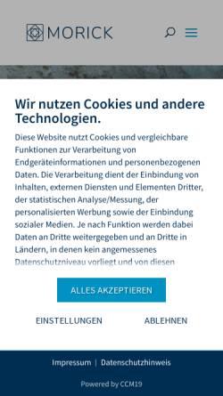 Vorschau der mobilen Webseite www.morick.com, Fliesenlegerbetrieb Morick