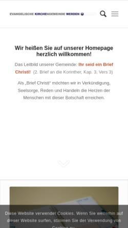Vorschau der mobilen Webseite www.kirche-werden.de, Evangelische Kirchengemeinde Werden