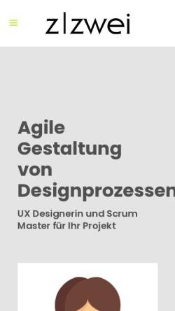 Vorschau der mobilen Webseite www.zzwei.de, Zzwei Design, Daniela Rogge