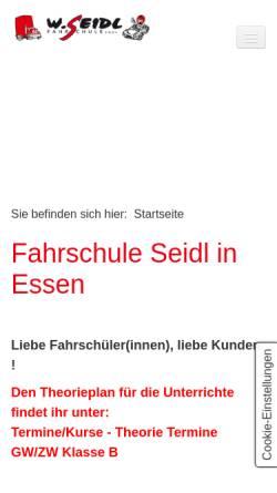 Vorschau der mobilen Webseite www.fahrschule-in-essen.de, Fahrschule Seidl GmbH