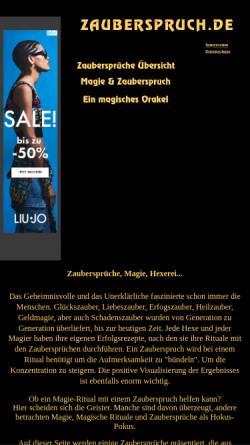 Vorschau der mobilen Webseite www.zauberspruch.de, Zaubersprüche