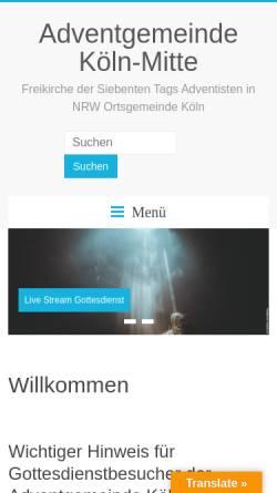 Vorschau der mobilen Webseite koeln.adventisten.de, Adventgemeinde Köln-Mitte