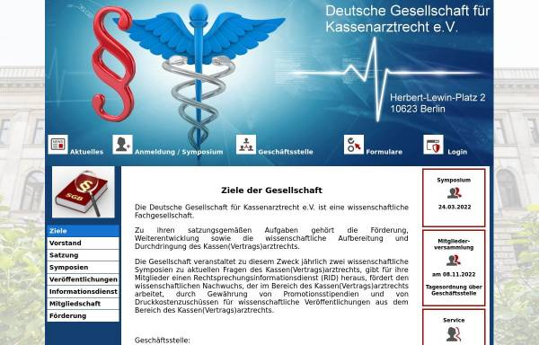 Vorschau von www.dg-kassenarztrecht.de, Deutsche Gesellschaft für Kassenarztrecht e.V.