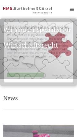 Vorschau der mobilen Webseite www.hms-bg.de, HMS.Barthelmeß Görzel Rechtsanwälte