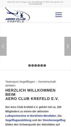 Vorschau der mobilen Webseite www.ackrefeld.de, Aero Club Krefeld e.V.