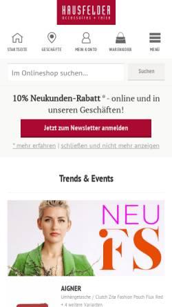 Vorschau der mobilen Webseite www.hausfelder.de, Hausfelder H. Tondera GmbH