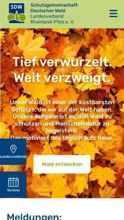 Vorschau der mobilen Webseite www.sdw-rlp.de, Schutzgemeinschaft Dt. Wald - LV. Rheinland-Pfalz e.V.