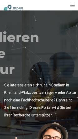 Vorschau der mobilen Webseite www.studium-ohne-abitur-rlp.de, Studieren ohne Abitur in Rheinland-Pfalz