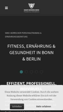 Vorschau der mobilen Webseite www.herrscher-personaltraining.de, Personal Training und Ernährungsberatung von Nino Herrscher