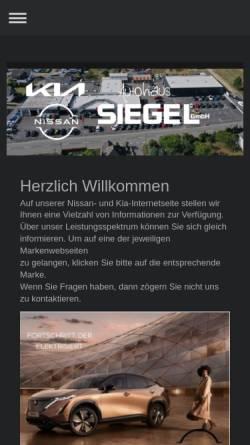 Vorschau der mobilen Webseite www.autohaus-siegel.de, Autohaus Siegel GmbH