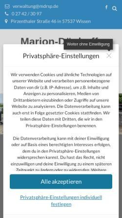 Vorschau der mobilen Webseite mdrsp.de, Marion-Dönhoff Realschule plus Wissen