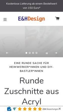 Vorschau der mobilen Webseite www.eh-design.de, E&H DESIGN Kunststoffverarbeitungs GmbH