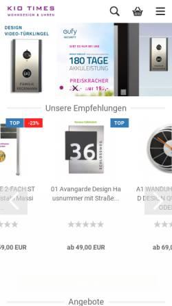 Vorschau der mobilen Webseite www.kio-times.de, Kio Times Design und Uhren Manufaktur