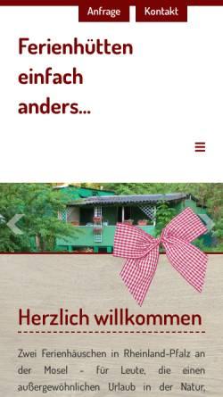 Vorschau der mobilen Webseite www.moselbett.de, Ferienhütten einfach anders...