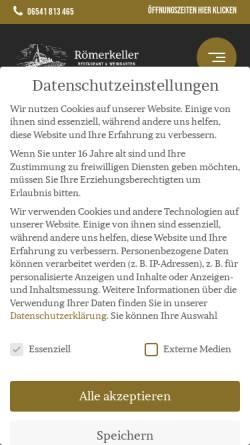 Vorschau der mobilen Webseite roemerkeller-kroev.de, Restaurant Römerkeller